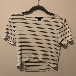 F21 Black and White Striped Tulip Crop Top